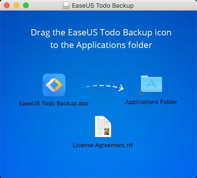 EaseUS Todo Backupをアプリケーションフォルダへドラッグする