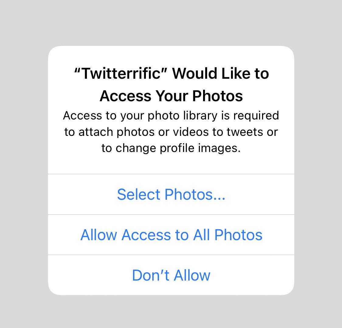 iOS 14では、アプリが写真へアクセスする許可方法が選べる