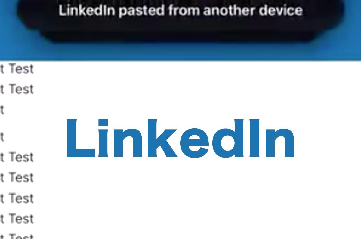 LinkedInアプリ、1文字入力ごとにクリップボードのデータを取得