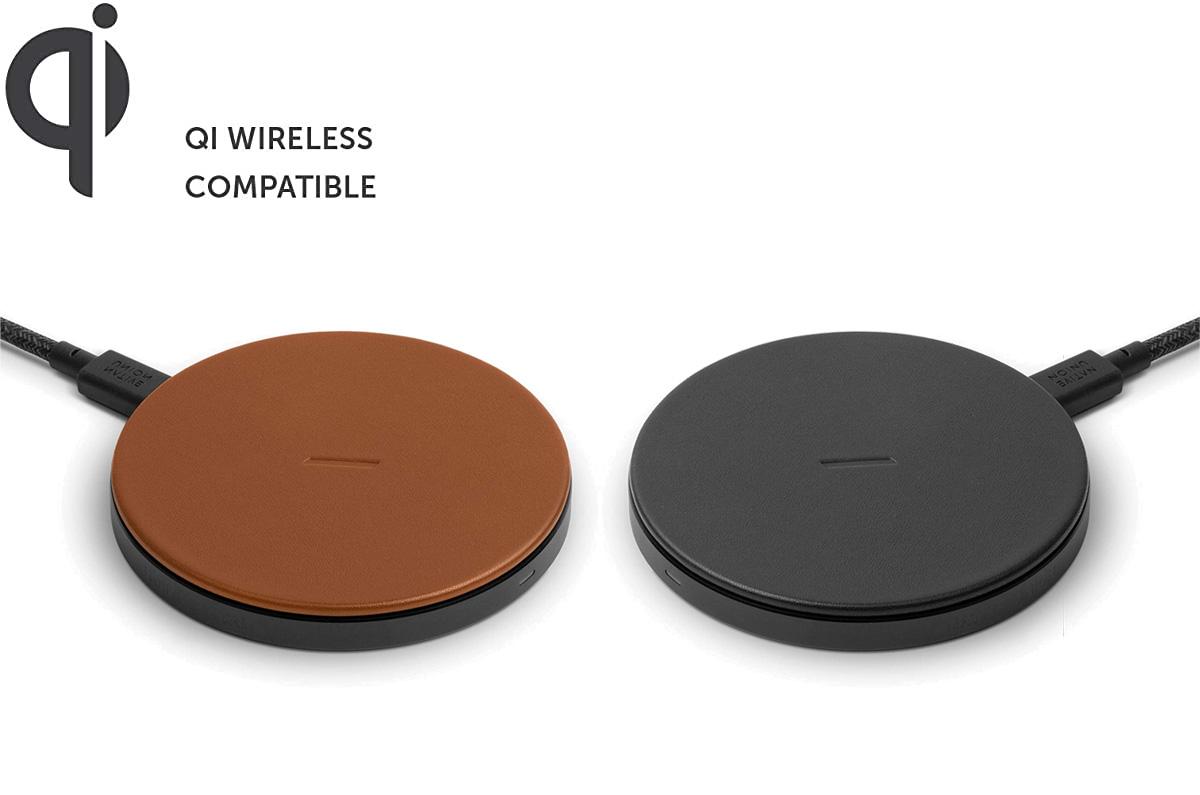 イタリア製 本側を使用した高速ワイヤレス充電器 NATIVE UNION DROP Classic Leather Wireless Charger 10W 高速ワイヤレス充電パッド Qi認証